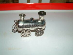 ANTIQUE JUDAIC AUSTRIAN STERLING SILVER SPICE BOX IN THE FORM OF A LOCOMOTIVE.