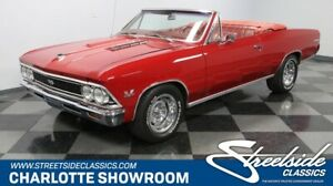 1966 Chevelle SS Convertible classic vintage chrome red drop top super sport TCI headers bucket seats bbc