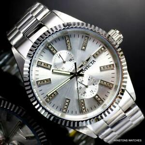Invicta Specialty Diamond Hour Markers Silver Tone Steel Bracelet 43mm Watch New