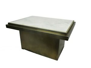 Belgo Chrome Coffee table 70s Art Design Brushed Metal Marble top Extremely Rare