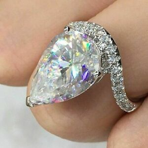 Solid 10k White Gold 3.00ct Pear & Round Cut Diamond Women's Engagement Ring
