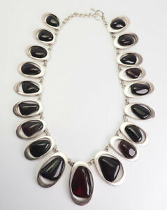 Fantastic large handmade sterling silver and natural amber necklace