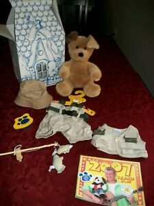 BUILD-A-BEAR BROWN SUGAR PUPPY DOG wFLY FISHING POLE OUTFIT HAT BRUSH VEST BABW