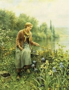 Victorian Trading Co Woman Fishing on Spring Day Unframed Print