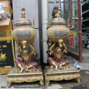 39 China Bronze Copper Cloisonne Buddha Monk Foo Dog Lion Incense Burner Censer
