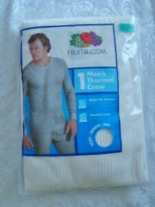 NEW Fruit of the Loom Mens Thermal Crew w Spandex Cuffs White Long Under XL 46quot; $7.99