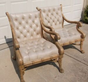 Pair Maitland Smith Leather Bamboo Arm Chairs