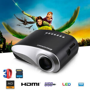 Excelvan LED HD Portable Mini Multimedia Projector AV USBHDMISD Home Theater