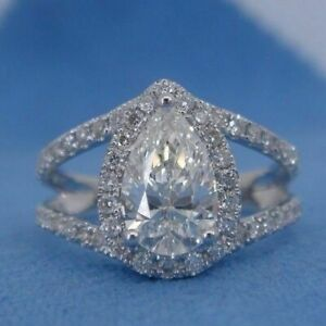 Split Shank Engagement Ring Solid 10k White Gold 2.50ct Pear & Round Cut Diamond