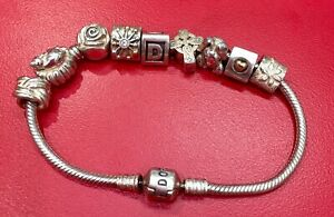 PANDORA Bracelet With 7 Charms 925 Silver - Authentic - Preowned