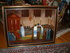 JUDAICA PAINTING OF A SYNAGOGUE SIGNED & DATED W. CHALIPKA POLSKA 1937