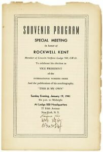 Rockwell Kent-SOUVENIR PROGRAM FROM IWO EVENT, JAN.1941-SIGNED BY KENT