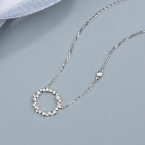0.60ct Round Cut Diamond 14k White Gold Finish Circle Shape Pendant Necklace