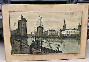 Large Bernard Buffet Lithographic Print Le Port de la Rochelle 1955 Framed $300.00