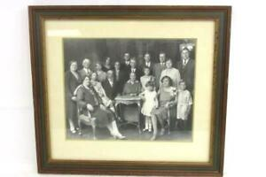 Antique Victorian Framed Family Portrait Photo Wealthy Large Family Kids Adults $62.99