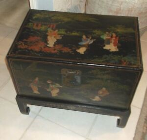Black Decorated  Asian Style Trunk on Stand