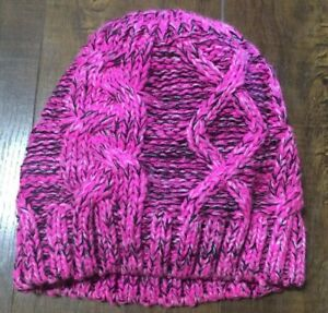 Fashion Knitted Baggy Women Hat Crochet Braided Cap Beanies Autumn Winter Pink