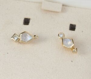 $495 Bonnie Stud Earrings In Rainbow Moonstone And 14k Yellow Gold