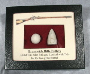 BRUNSWICK RIFLE BULLETS ROUND BALL with BELT & CONICAL with TABS