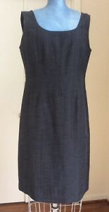 ELEGANT ESCADA ITALY GRAY COTTON BLEND DESIGNER SLEEVELESS DRESS 8 US 42 EU M