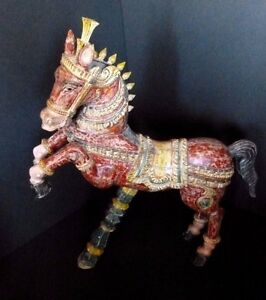 Polychrome Wooden Horse Figure Sculpture Vintage Hand Carved Figure Early 20th