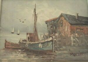 MAX SAVY SEASCAPE ORIGINAL OIL ON BOARD PAINTING 5quot; x 7quot; FISHING BOAT DOCK $50.00