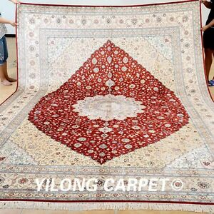 Yilong 9'x12' Silk Area Rugs Bedroom Artificial leaf Design Carpet Handmade 0901