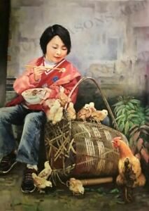 """""""Lunch with Friends"""" by Zhang Xing.  Original Oil Painting on High Quality Burla"""