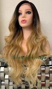 ash blonde Golden Blonde lace front wig Ombré Wavy Heat Resistance 26 Inch Long $58.00