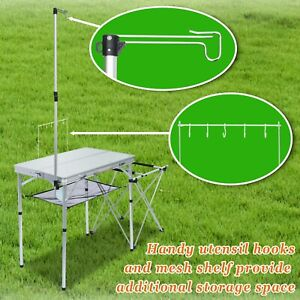 Portable Camping Kitchen Folding Table Portable Grill Stand Table Handle Storage