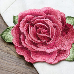 1x Red Peony Big Patch Applique Embroidery Flower Patches Sewing on Patch $1.79