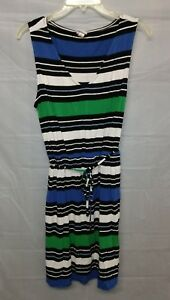 Merona Black Green and Blue Knit Striped Tank Dress V Neck Belted XL