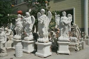 BEAUTIFUL CARVED 4 SEASON WINGED ANGEL MARBLE ESTATE STATUES - ZH8