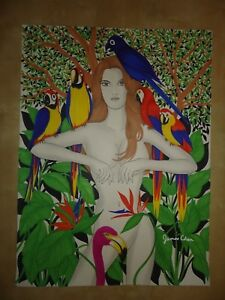 ORIIGINAL HUGE PAINTING  '' BIRDS OF PARADISE '' BY ARTIST JAMES CHEN