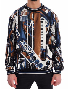 NEW $13300 Dolce & Gabbana Multicolor Jazz Sequined Runway Pullover Sweater L
