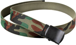 Camo Web Belt Cotton Tactical Woodland Camouflage Army Military Black Buckle