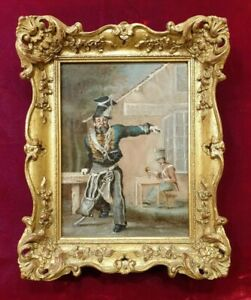 Original 19th Century Victorian Military Oil Painting 1800s Lancer Soldier Drink