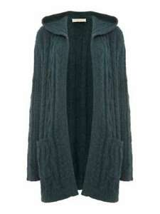 Maison De Nimes Cable Knit Hooded Cardigan Womens Ladies Ocean Green UK Size M