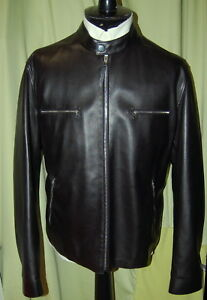 NWT ERMENEGILDO ZEGNA mens black lambskin zip leather jacket 54 44 $5295 ITALY