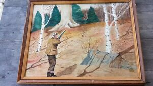 1940's Lester Oxer Watercolor Autumn Hunting Scene – Greenwich Connecticut