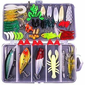 NEW Topwater Lures 77-Pcs Fishing Kit Set For BassTroutSalmonIncluding Spoon