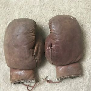 Antique Vtg Boxing Gloves Distressed Leather Fitness Wall Decor Man Cave 1930s
