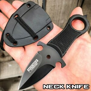Black Hunting Tactical Combat NECK Knife FIXED BLADE MILITARY DAGGER Sheath
