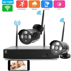 Wireless 4CH 1080P NVR IndoorOutdoor IR-CUT Camera Home Security System Video