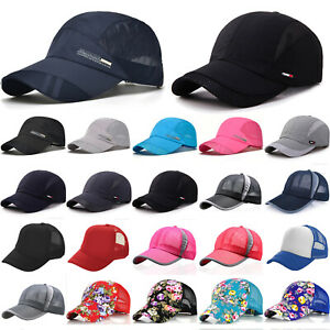Mens Baseball Caps Trucker Hat Snapback Sports Mesh Breathable Visor Curved Hats