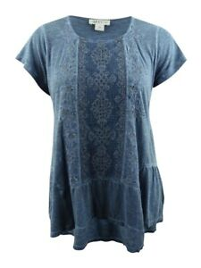 Style & Co. Women's Plus Size Embroidered Tiered Top
