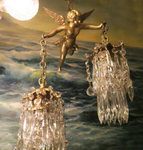 Bronze Vintage Chandelier Swag French Lamp Flying Cherub Brass Crystal beaded