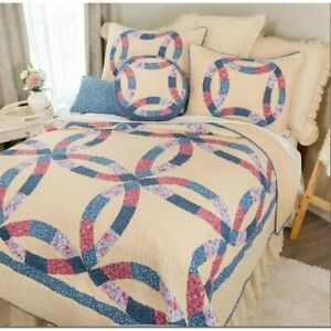 Michelle Wedding Ring Set Queen or Full Size Quilt 90 X 90 Inch and 2 Standard S