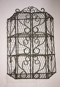 Vintage Mesh Metal Wire Curio Display Shelf Cabinet Wall Hanging