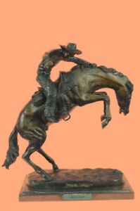 Signed Remington Famous Wooly Chaps Cowboy Horse Bronze Sculpture Figurine Gift